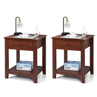 Set of 2 Night Stand End Table Bed Sofa Side Accent Table w/Drawer Simple Design