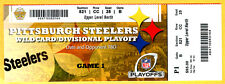 BEAUTIFUL! 1/15/11...2010 STEELERS/RAVENS DIVISIONAL PLAYOFF FULL TICKET