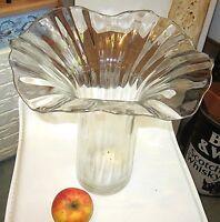 * XL vintage vase stabiles klares glas  formschön 30 cm 1,8kg top