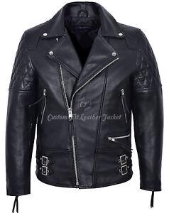 Men's Leather Jacket Black Biker Motorcycle Style 100% LUXURY REAL COWHIDE 233