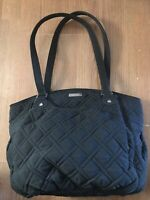 "Vera Bradley Classic Black Glenna Large Shoulder Bag 12""x15"" Purse Tote GUC"