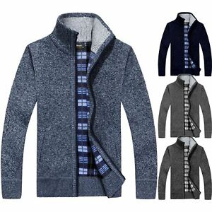 Mens Winter Funnel Collar Zip Up Thick Fleece Lined Knitted Cardigan Jumper Top