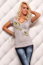 Waist Length Viscose V Neck Graphic T-Shirts for Women