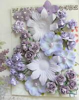 PERIWINKLE & LAVENDER Mix - 34 Flowers 6 Styles 5 Tones PAPER & SILK 10-55mm VD1