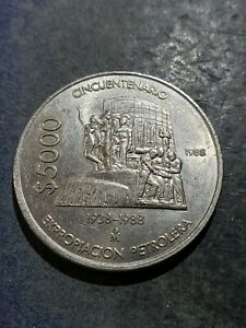Mexico 1988 5000 Pesos Coin - 50 Yrs Oil Exploration #July247