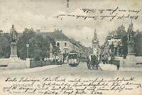 Ansichtskarte Freiburg Kaiserstraße 1903 Kutsche Straßenbahn  (Nr.792)