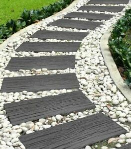 Primeur Garden Pathway Stepping Stones Recycled Rubber Railroad - Tie Grey