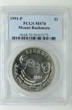 1991 P US Mount Rushmore Silver $1 Dollar Commemorative Coin PCGS MS70