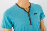 SUPERDRY BLUE UNIVERSITY ATHLETIC BUTTON NECK TEE SHIRT RAW EDGE SIZE SMALL