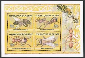 Guinea 2002 year,Ants and Bees set of 4 stamps and souvenir sheet,1350 Fr,MNH