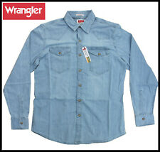 MENS WRANGLER SHIRT DENIM PREMIUM SLIM FIT FLEX UNTUCKED LENGTH WESTERN