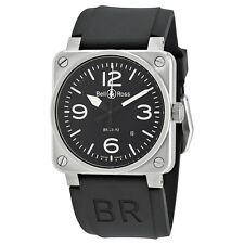 Bell and Ross Aviation Black Dial Automatic Mens Watch BR0392-BLC-ST