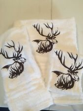 Elk Embroidered 3 Piece White Bath Towel Set