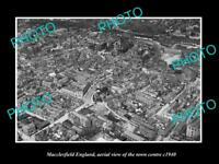 OLD LARGE HISTORIC PHOTO OF MACCLESFIELD ENGLAND, AERIAL OF THE TOWN c1940 2