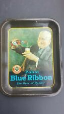Vintage Pabst Blue Ribbon Beer Tray - 1933 Litho Old Man Pouring Beer - Free S/H