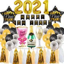 2021 Happy New Year Foil Star Balloons Gold Black Banner Xmas Party Decor