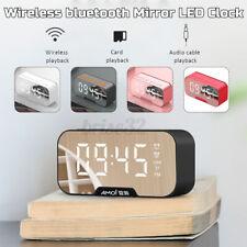 Digital Alarm Clock Fm Radio Wireless bluetooth Mirror Led Clocks With Speake