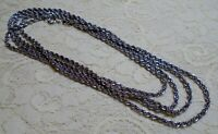 VINTAGE LONG SILVER TONE ROPE CHAIN LAYERING NECKLACE 60 INCH