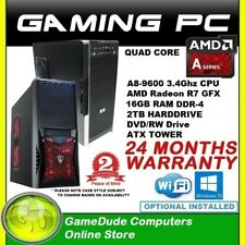 AMD QUAD Core A8 9600 3.4GHz Gaming PC Computer 16GB ram 2Tb HDD Radeon R7 GFX