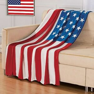 6' x 4' Patriotic 4th of July USA American Flag Stars and Stripes Throw Blanket