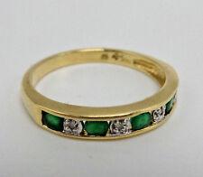14k Yellow Gold Ring Emeralds & Diamonds 3.5mm Band Size 7.5