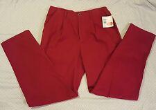 Liz Claiborne Womens Red Pants sz L 12 Microsanded Cotton Casual Trousers