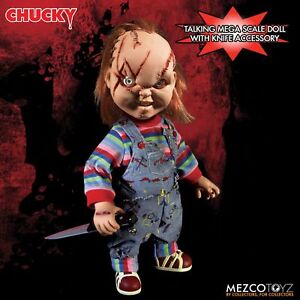 """Child's Play Chucky Talking Scarred Mega Scale Doll with Sound 15"""" Mezco"""