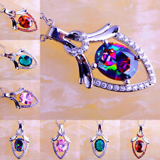 Trendy Rainbow Pink Green Red Ruby Spinel Gemstone Silver Necklace Pendant Gift