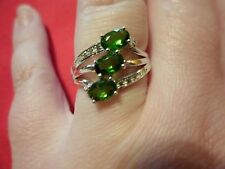 Chrome Diopside 3-Stone Ring in 925 Sterling Silver-Size 7-TGW 1.49 Carats
