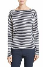 "THEORY Women's ""Minasola B"" Nautical Stripe Ivory Navy Long Sleeve Shirt Top S"