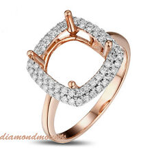 8.5mm Cushion Cut Solid 14K Rose Gold Natural Diamond Semi Mount Ring Setting