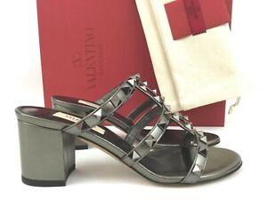 Sz.35 VALENTINO GARAVANI Rockstud Slide Strappy Block Heel Sandals Mules Silver