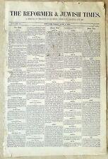 NEWSPAPER – THE REFORMER & JEWISH TIMES – 1879.
