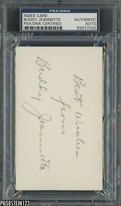 Buddy Jeannette Signed Index Card AUTO PSA/DNA Certified Authentic