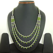 NATURAL FINE FACETED GREEN PERIDOT GEMSTONE BEADED BEAUTIFUL NECKLACE 40 GRAMS