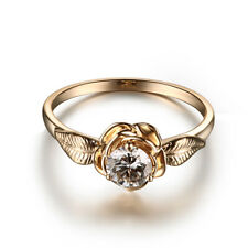 Fine Simple Ring 18K Yellow Gold Prong 0.58ct Moissanite Round Cut 5mm Unique