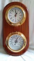 Wooden Nautical Marine Clock and Thermometer Home Decor - Gift