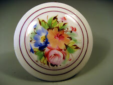 Fine old French France Limoges Round Pink Floral Decor Lidded Box ca. 19th c.