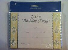 Birthday Party Invitations 10 Pack Cards Notes Elegant Metallic Silver Cream