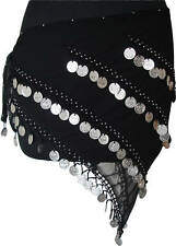 Belly Dance Hip Scarf Coin Wrap Belt Black/Silver 4 Line