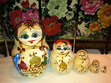 russian nesting doll Set Of 5 Hand made 4 inchs tall Wood Blue Us Seller