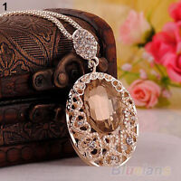 EG_ Retro Rose Gold plated crystal Rhinestone Sweater chain pendant Necklace