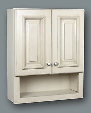 Antique white bathroom wall cabinet with shelf 21x26