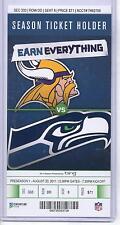 Minnesota Vikings Seattle Seahawks 8/20/11 Full Unused NFL Football Game Ticket