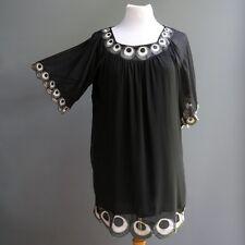 Hot & Delicious Vestido Negro 100% Gasa de Seda Mod Pluma Pavo Real BORDADO M L