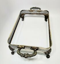 """Vintage Silverplate Casserole Dish Holder Handled Footed Stand 8.5 x 13"""""""