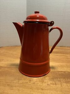 """Antique Vintage  Red Enamel Coffee Pot Made in Poland 9.5"""" #14"""