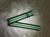 22mm .Nato. Nylon Watch Strap Wristwatch Band.Brand new. 2Black_2Green_Blue