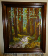Framed Acrylic Painting Canvas Signed  21 x 25 The Redwoods  Forest Stream