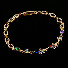10K Yellow Gold Filled GF Colour Stone Butterfly Bracelet 19cm Long 6mm Wide